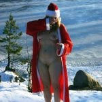 Santa Costume Woman Naked on Snow