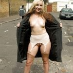 Woman Flashing Naked Body on Public Street