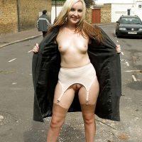 Woman Flashing Naked Body on Public Street