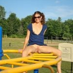 Cute Wife Exposing Pussy and Breast in Fun Park