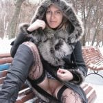 Flashing Pussy with Winter Coat