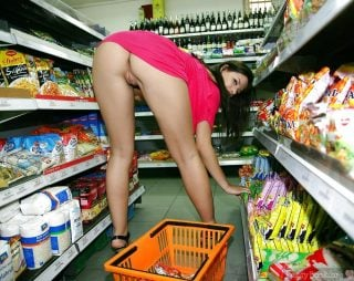 Hot Babe Bending Over Pussy at Supermarket