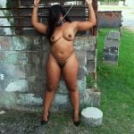 Naked Black Woman as Pet with Leash