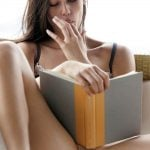 Naughty Beauty Sucking Finger Pussy Reading Book
