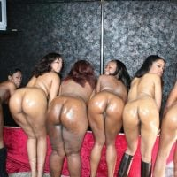 Six Naked Afro-American Women Bent Over Butts