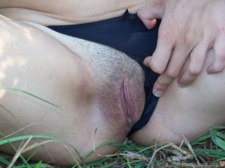 Up-Close Flashing Cunt on the Grass