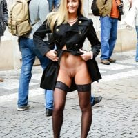 Blonde Hottie Flashing Pussy on Crowded Street