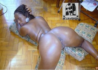 Dark Naked Hoe On all fours