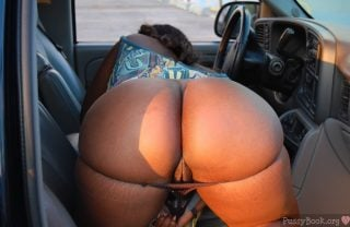 Naked Curvy Brown Booty Bent Over in Car