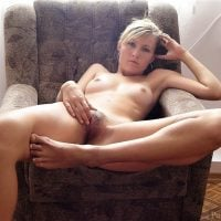 Blonde Bored Woman Naked Pussy Pulling
