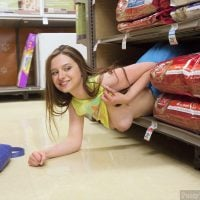 Cool Girl Flashing Breast on Shop's Shelfs