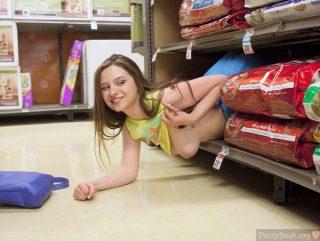 Cool Girl Flashing Breast on Shop's Shelfs