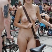 Nude Girl Posed at Cycling Nudist Parade
