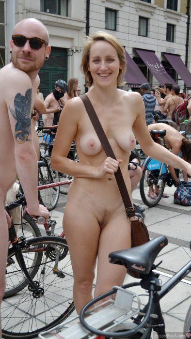 Nude Girl Posed at Cycling Nudist Parade