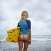 Bottomless Surfer Girl Exposing Butt HD