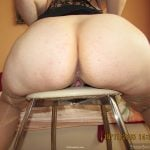 Big Bare White Mature Rear End on Chair