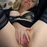 Sexy Blonde Mother Spreading Vagina Hole