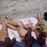 3 Beautiful Naked Girls on beach