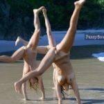 3 Naked Girls Gymnastics on Beach