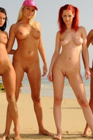 4 Young Babes Posing Naked on Public Beach
