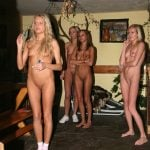 4 Skinny Nude Girls Playing Darts
