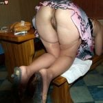 Attractive White Woman Booty Bent Over Upskirt