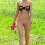 Blonde Babe Walking Bottomless Pussy on Green Field