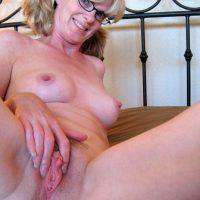 Blonde Nerdy Mother Spreading Nice Vagina
