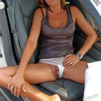 Blonde Slim Wife Flashing Long Labia in Car