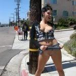 Crazy Chick Flashing Pussy and Tits on Public Street