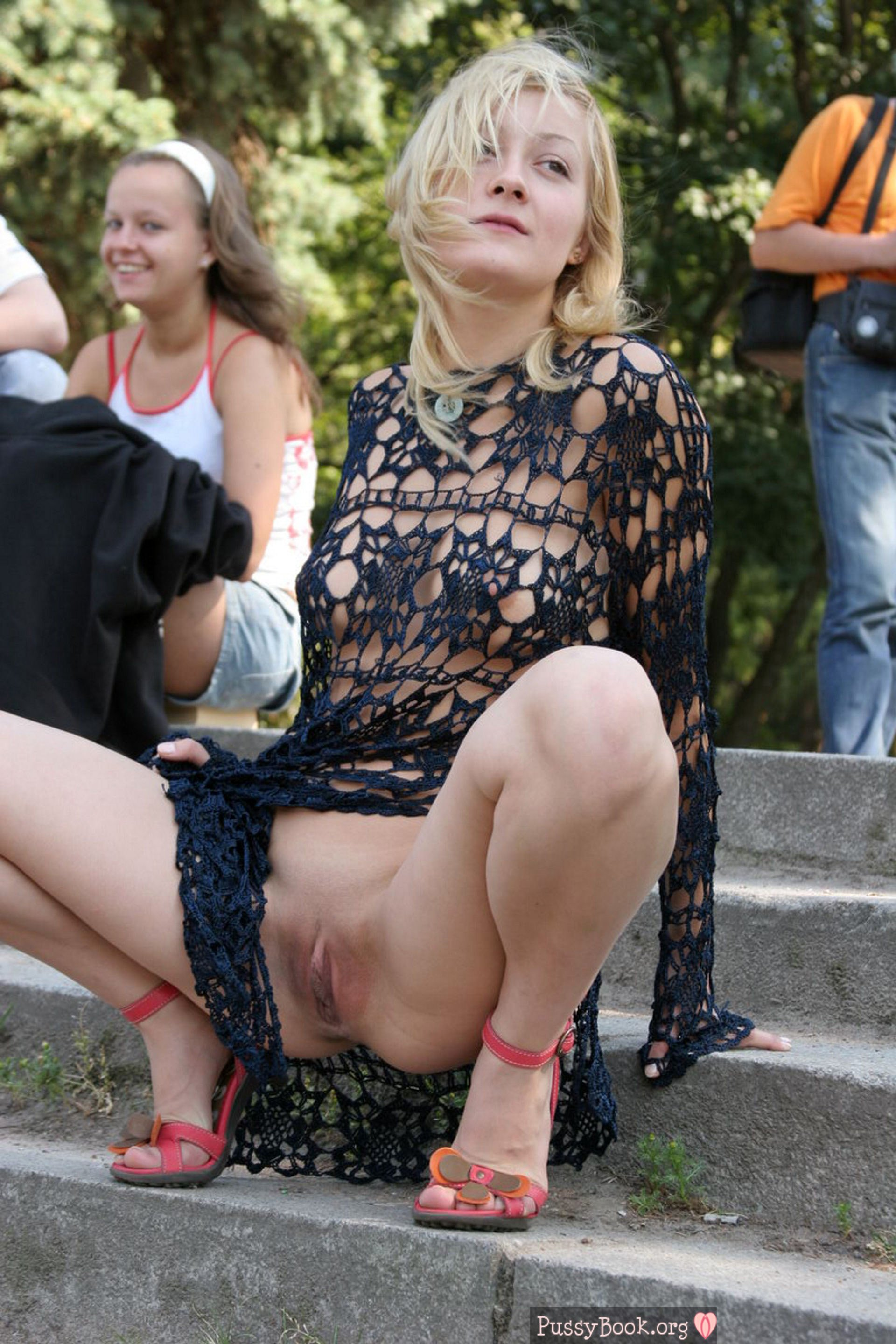 girl flashing her pussy in public