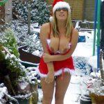 Flashing Big Boobs Outside on Snow