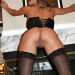 Hot Corset Woman Bends Over Bare Bottom Pussy