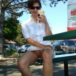 My Woman No Panties Sitting at Mc Donalds Coffe