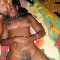 Naked Black African Gal in Bed with Boyfriend