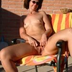 Nasty Aunt Spreading Long Cunt Sunbathing