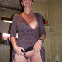Older Mom Flashing Pussy and Breast