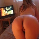 Splendid Young Lady Ass Watching Porn