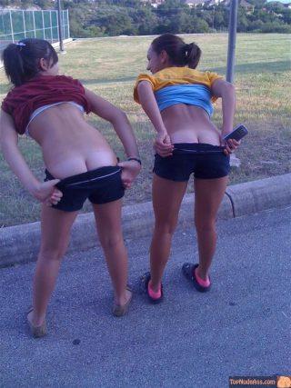 Teens Pulling shorts ass cracks