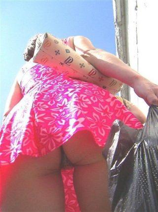 Woman Buttocks Upskirt on Street