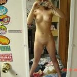 Blonde Teen Girl Self Posing mirror