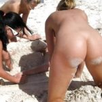 Brunette and 2 Blondes Naked on Nudism Beach