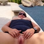 Chubby Blonde Busty Wife Opens Vagina Outdoors