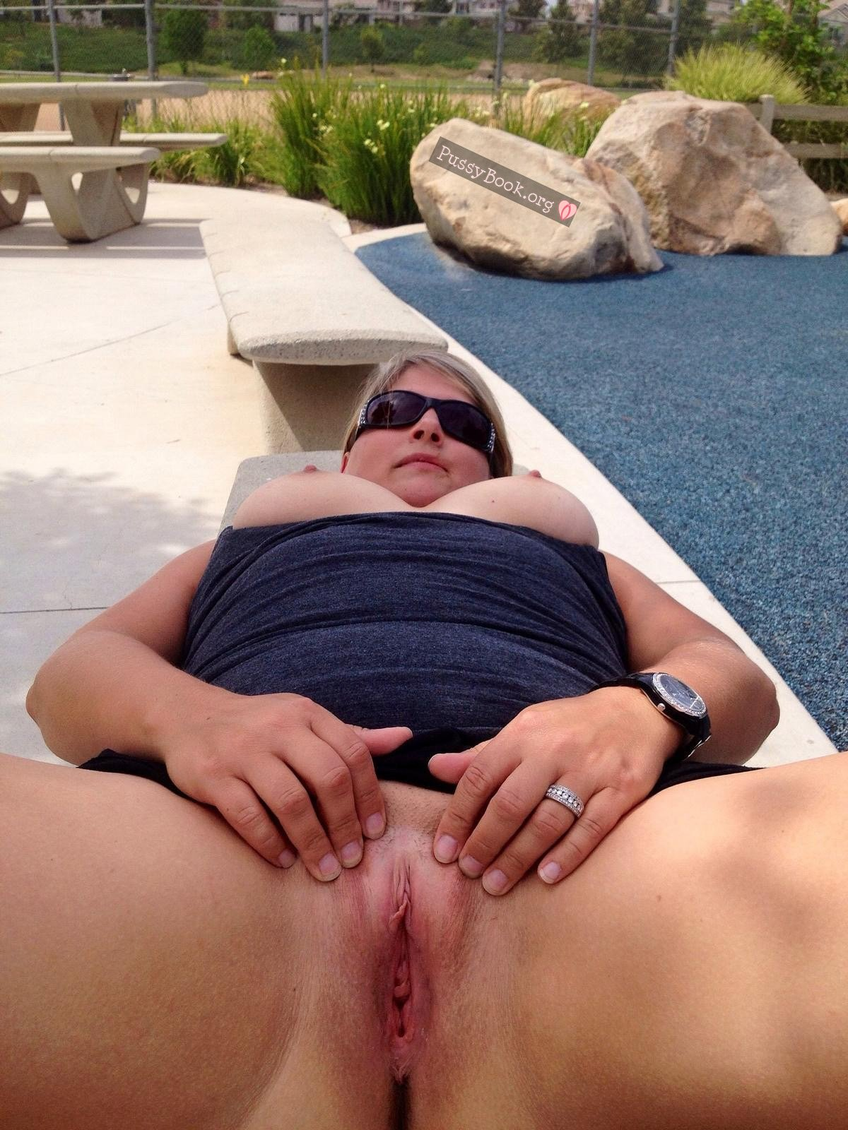 Chubby Blonde Busty Wife Opens Vagina Outdoors Nude Girls -2739