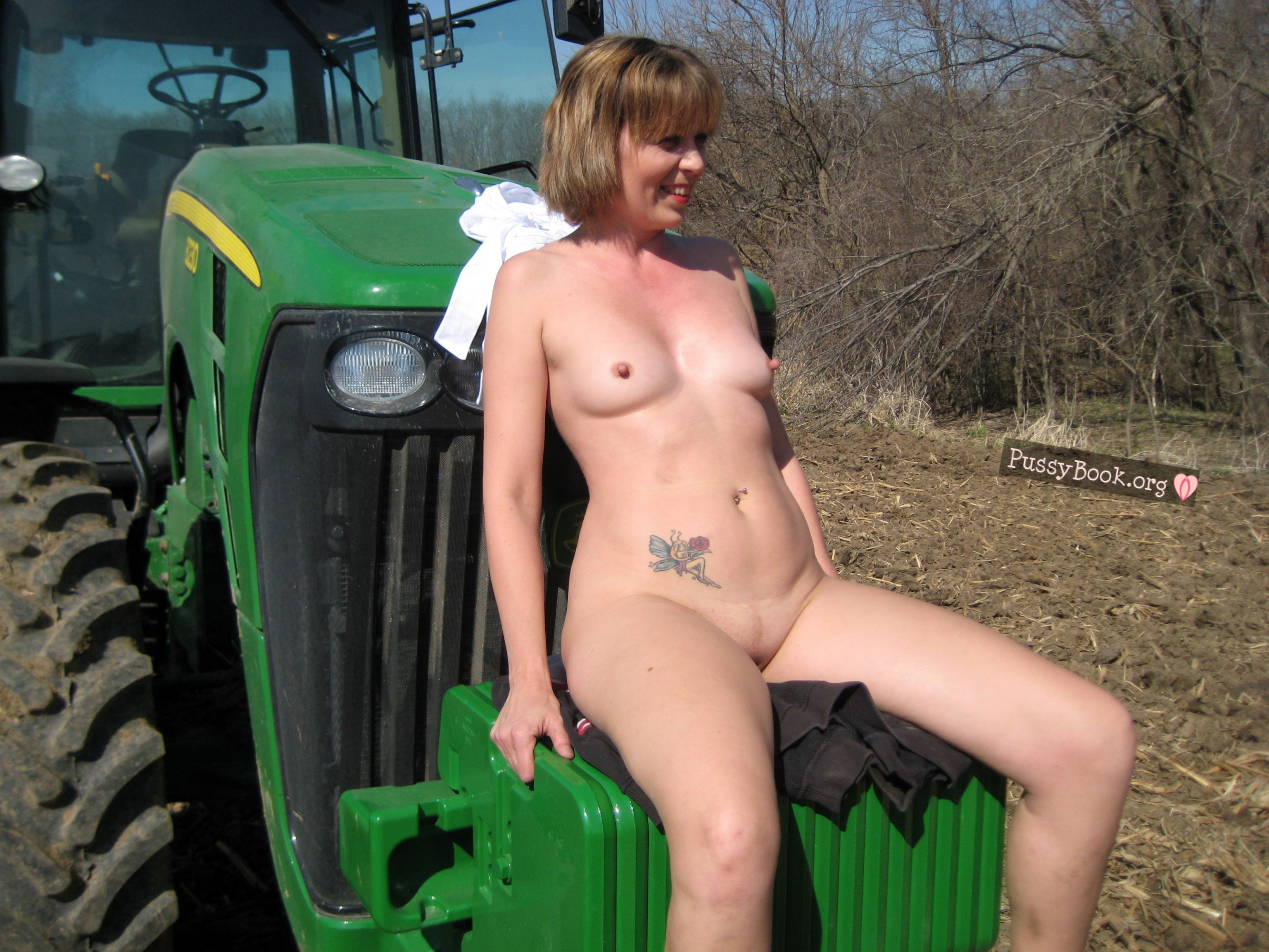 male farmers naked on tractor