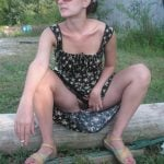 flashing hairy pussy outdoors