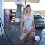 Flashing Her American Pussy Gas Station