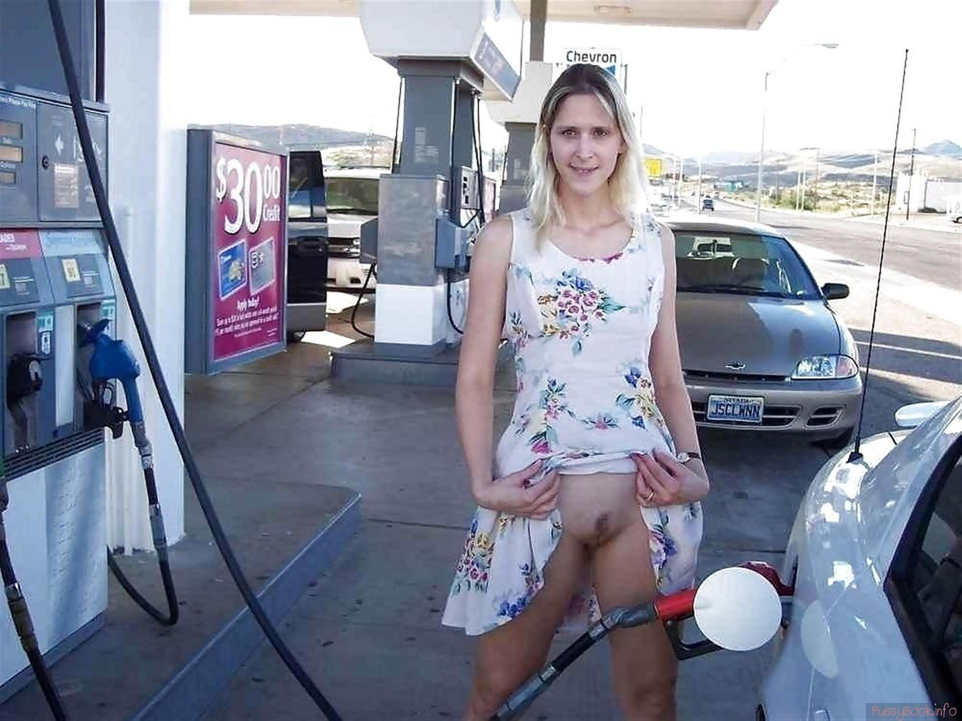 girl getting gas naked