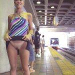 flashing pussy at the subway