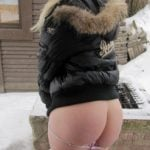 Flashing Sweet Butt Cheeks Winter Outdoors